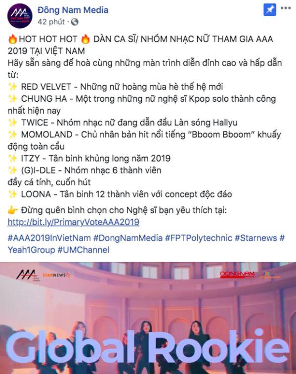 Chính thức: Dàn lineup nhóm nhạc, diễn viên tham gia AAA 2019 Việt Nam14