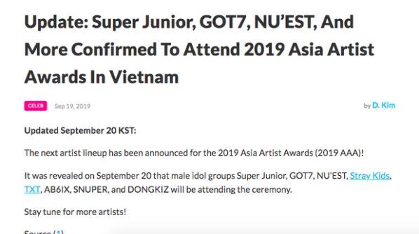 Chính thức: Dàn lineup nhóm nhạc, diễn viên tham gia AAA 2019 Việt Nam 22